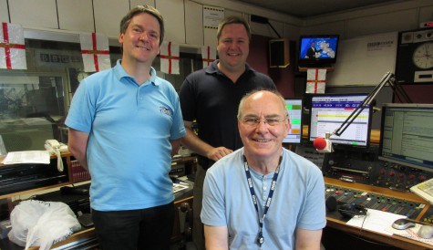 Pete and Joe from Southend Hospital Radio, with BBC Essex presenter Ray Clark