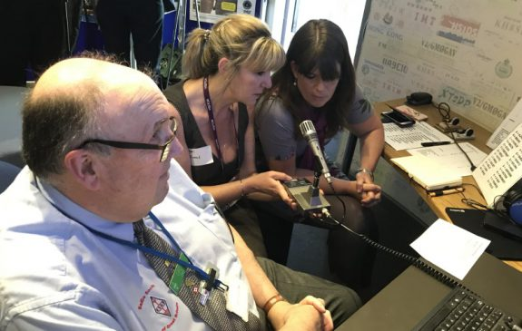 Rachel and Anna from the NHS, promoting EndPJParalysis on amateur radio