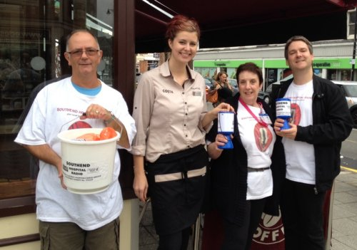 Leigh Broadway Collecting Day - Richard, Elaine and Pete with Charlotte from Costa Coffee