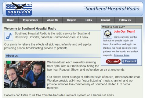 Southend Hospital Radio Website 2010