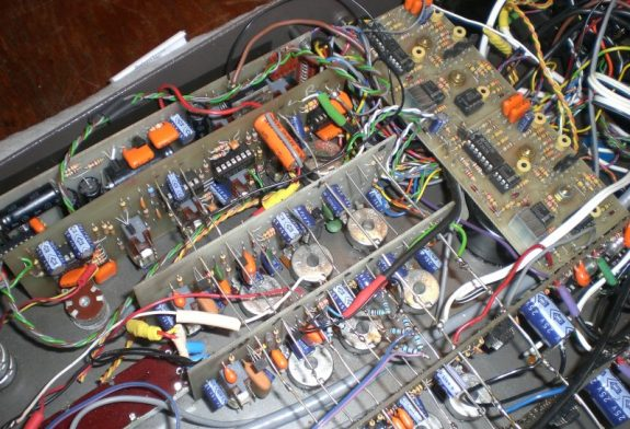 The internal workings of the Alice 828 mixer in Studio 2